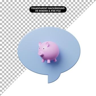 Bolha de bate-papo de ilustração 3d com cofrinho