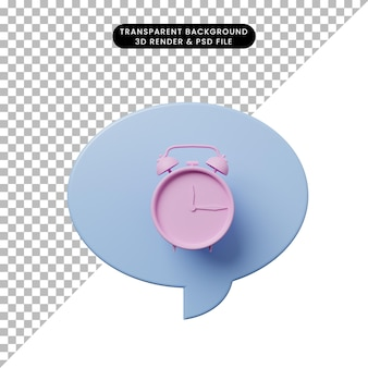 Bolha de bate-papo de ilustração 3d com despertador