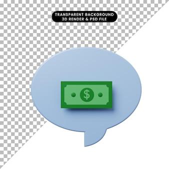 Bolha de bate-papo de ilustração 3d com dinheiro