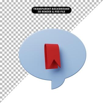 Bolha de bate-papo de ilustração 3d com marcador de livro