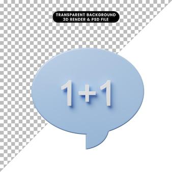 Bolha de bate-papo de ilustração 3d com matemática de soma