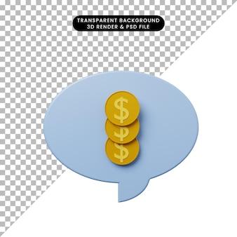 Bolha de bate-papo de ilustração 3d com moeda