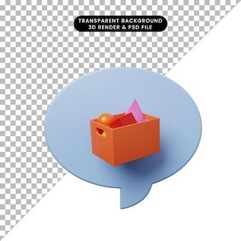 Bolha de bate-papo de ilustração 3d com objeto primitivo de cesta