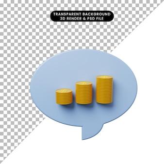 Bolha de bate-papo de ilustração 3d com pilha de moedas