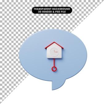 Bolha de bate-papo de ilustração 3d com relógio de parede