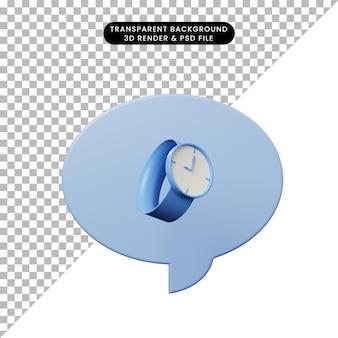 Bolha de bate-papo de ilustração 3d com relógio