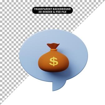 Bolha de bate-papo de ilustração 3d com saco de dinheiro