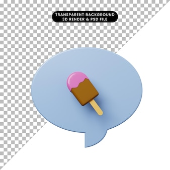 Bolha de bate-papo de ilustração 3d com sorvete