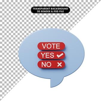 Bolha de bate-papo de ilustração 3d com votação
