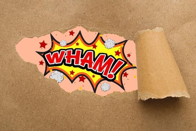 Bolha do discurso em quadrinhos em papelão rasgado