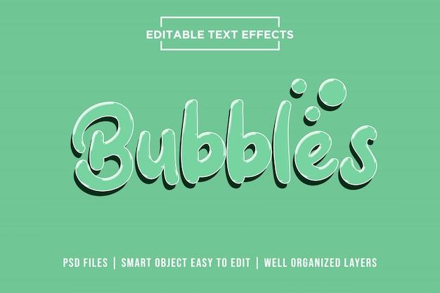 Bolhas, efeitos de texto em 3d premium psd