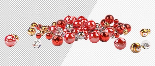 Bolinhas de natal vermelhas e prateadas