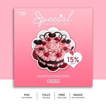 Bolo comida valentine banner com mídia social post instagram rosa