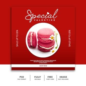 Bolo comida valentine banner com mídia social post instagram vermelho