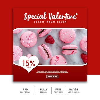 Bolo comida valentine banner para mídia social post instagram vermelho