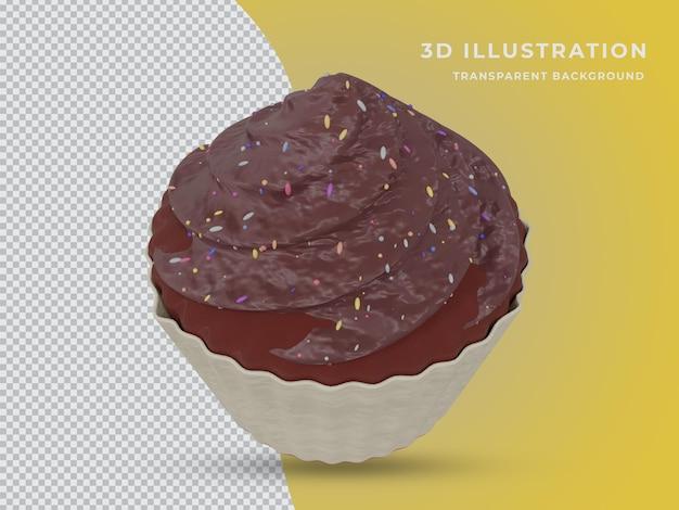 Bolo de chocolate renderizado 3d com fundo transparente