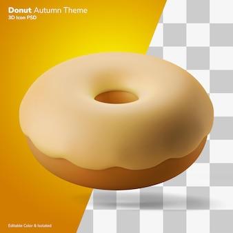 Bolo de donut festa de outono ilustração 3d renderização ícone 3d editável isolado