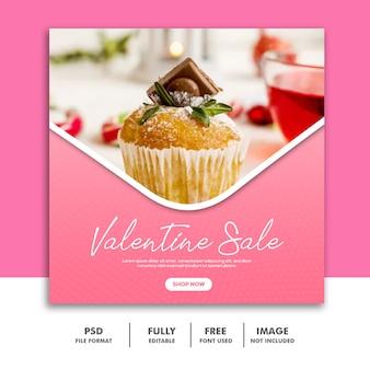 Bolo dos namorados banner com mídia social post comida venda