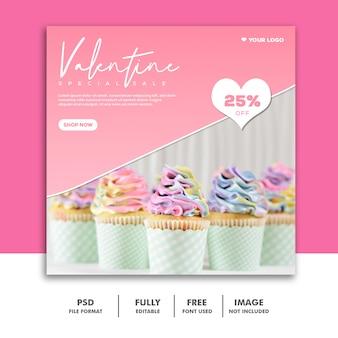 Bolo dos namorados banner com mídias sociais post comida rosa