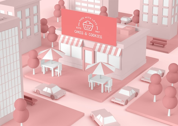 Bolo e biscoitos rosa edifício