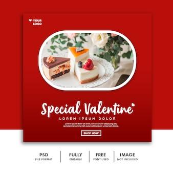 Bolo valentine banner com mídia social post comida especial vermelho