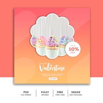 Bolo valentine banner com mídia social post instagram rosa