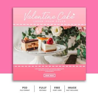 Bolo valentine banner com mídias sociais post comida especial rosa