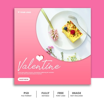 Bolo valentine banner com mídias sociais post comida rosa delicioso