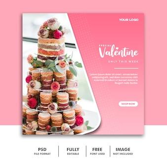 Bolo valentine banner mídia social post instagram comida especial