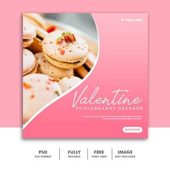 Bolo valentine banner mídia social post instagram delicioso