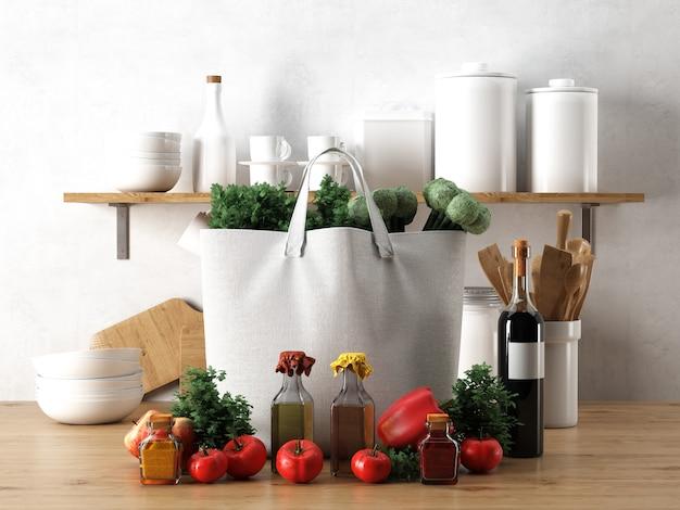 Bolsa branca com ingredientes na cozinha