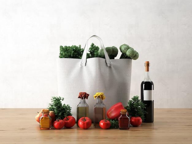 Bolsa branca com ingredientes