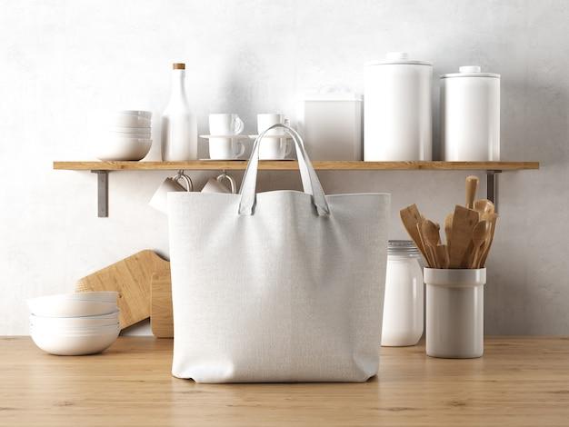 Bolsa branca com utensílios de cozinha
