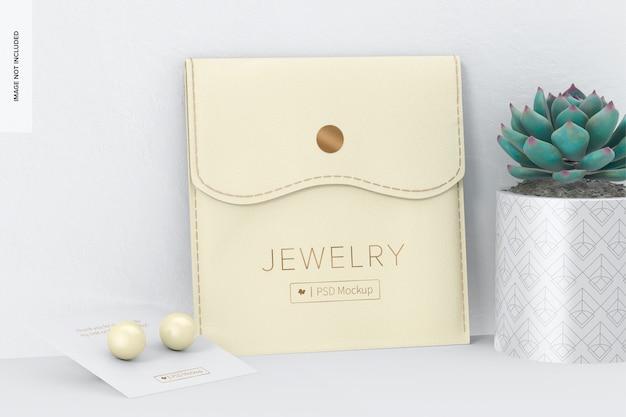 Bolsa de joias com maquete de botão, inclinada
