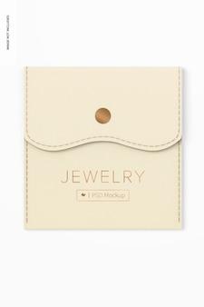 Bolsa de joias com maquete de botão, vista superior