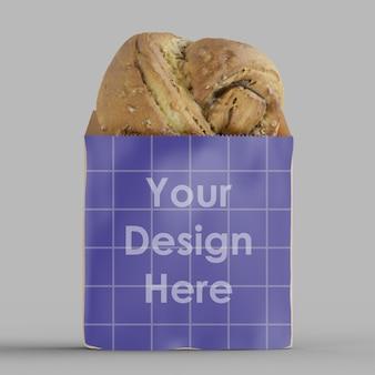 Bolsa de papel kraft para padaria 3d mockup