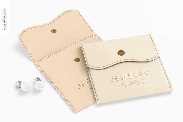 Bolsas para joias com maquete de botão, abertas e fechadas