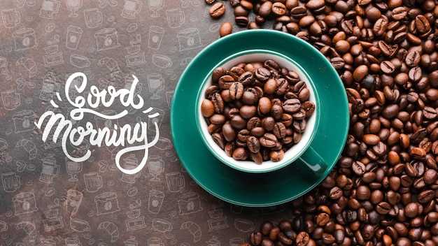 Bom dia, fundo com uma tigela cheia de grãos de café
