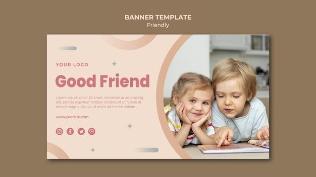 Bom modelo de banner web de amigos crianças