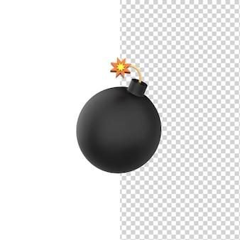 Bomba redonda preta com fusível de queima 3d rendem o modelo dos desenhos animados com fundo branco isolado.