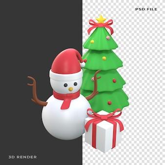 Boneco de neve 3d com árvore de natal em fundo transparente