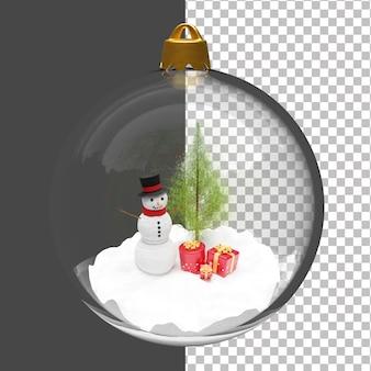 Boneco de neve 3d e árvore de natal dentro da lâmpada de natal