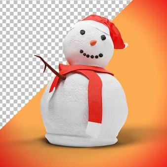 Boneco de neve 3d engraçado com chapéu e lenço vermelhos