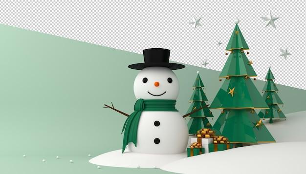 Boneco de neve, árvore de natal e caixa de presente em renderização 3d