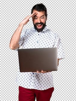 Bonito, morena, homem barba, com, laptop