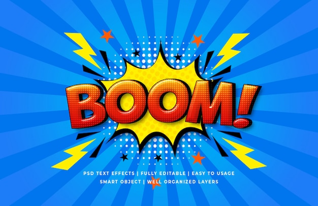 Boom comic speech efeito de estilo de texto 3d