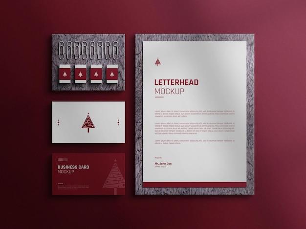 Borracha de papel timbrado com textura de madeira decorativa e maquete de cartão de visita