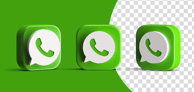 Botão brilhante do whatsapp ícone do logotipo da mídia social definido criador de cena 3d render isolado
