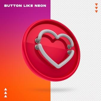 Botão como néon