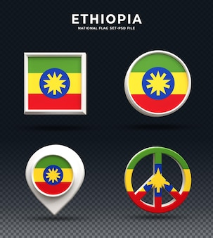 Botão de cúpula de renderização 3d da bandeira da etiópia e na base brilhante
